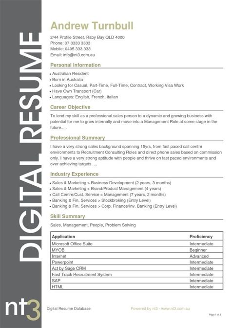 Resume Template Australia by Best 25 Resume Template Australia Ideas On