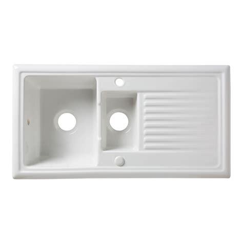 B Q White Kitchen Sinks by Cooke Lewis Burbank 1 5 Bowl White Ceramic Sink
