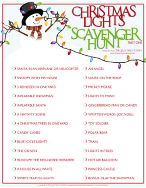 printable christmas light scavenger hunt the silly nilly studio a custom party boutique the sn