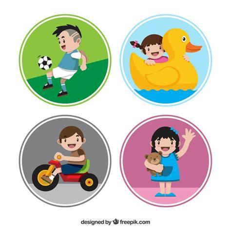 Gratis Aufkleber Kinder vier runde aufkleber mit l 228 chelnden kindern der