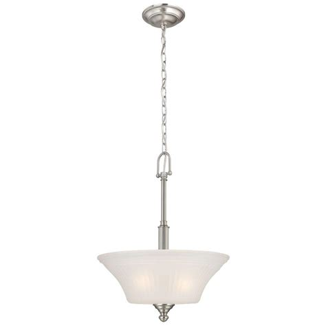 Commercial Electric Lighting Fixtures Commercial Electric 3 Light Brushed Nickel Pendant Hon8913a The Home Depot