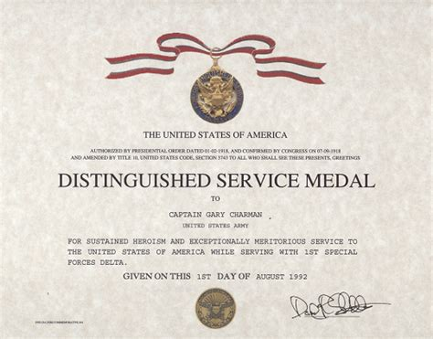 army award certificate army distinguished service medal certificate