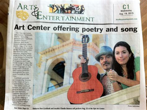 entertainment section in newspaper we made front page of the ojai valley news arts and