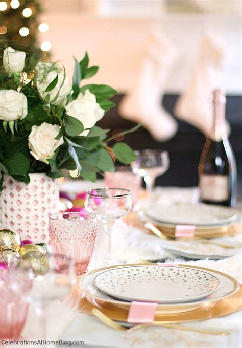 white pink christmas table setting celebrations at home