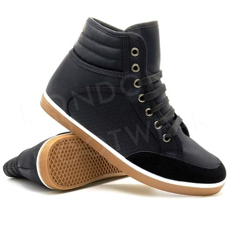 mens casual sneaker mens designer hi high tops ankle trainers boots flat