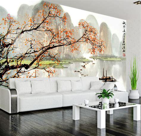 tapisserie japonaise papier peint paysage asiatique les petits bateaux sur la