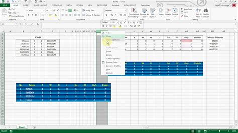 How To Create Football League Table In Excel 2013 Youtube Excel Football Template
