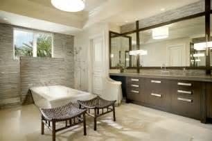Modern Bathroom Backsplash Linear Gray Tiles Contemporary Bathroom B And G Design