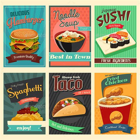 posters cuisine 20 food poster illustration templates design freebies