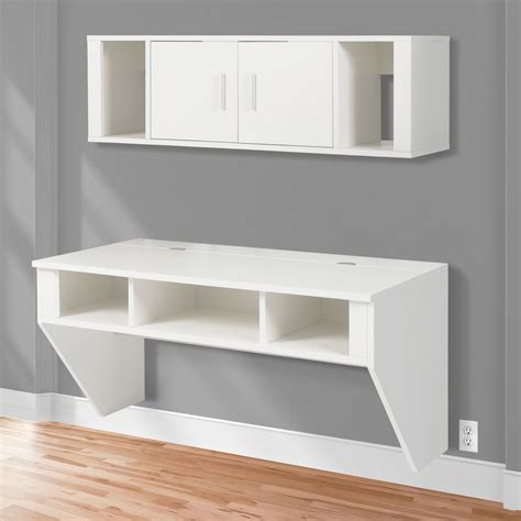 wall mounted floating desk bcp designer floating desk with hutch white finish wall