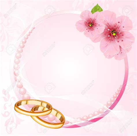 Wedding Invitations Ring Design by Wedding Rings And Pink Cherry Blossom Design Royalty Free