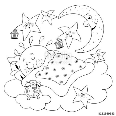 cute sun coloring page quot cute sleeping sun moon and stars coloring page funny