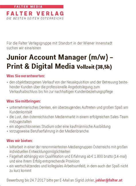 Bewerbungsanschreiben Junior Key Account Manager 220 Ber Uns 187 Karriere Im Falter Verlag Falter At