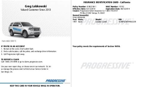 Insurance Card Progressive Progressive Insurance Quotes A Review Of Progressive Insurance Progressive Insurance Card Template
