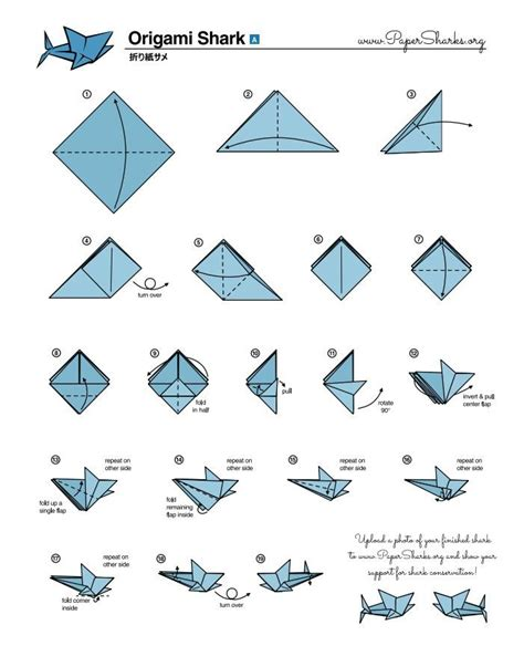 Activity Origami - fold your own origami shark at home oceana crafts