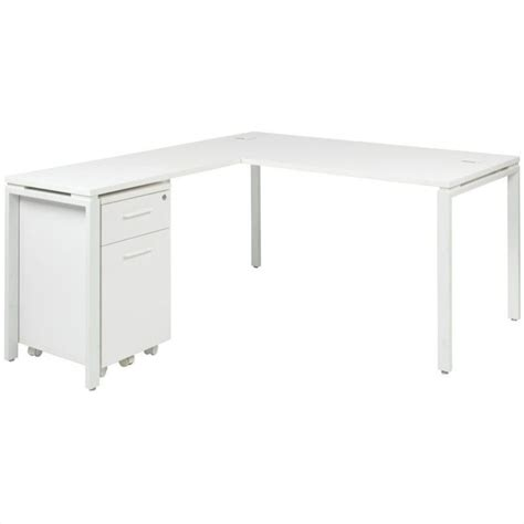 prado l shape desk with mobile filing cabinet in white