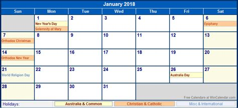printable calendar january 2018 australia january 2018 australia calendar with holidays for printing