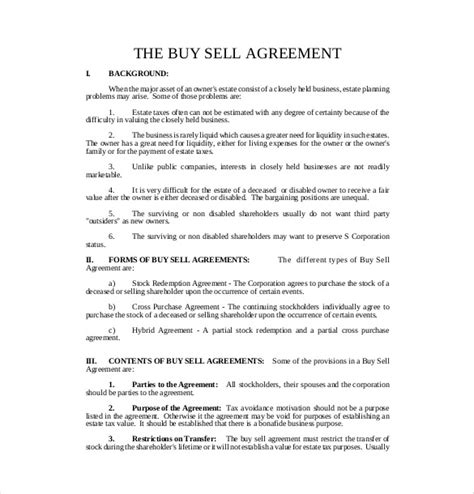 Buy Sell Contract Template 12 buy sell agreement templates free sle exle format free premium templates