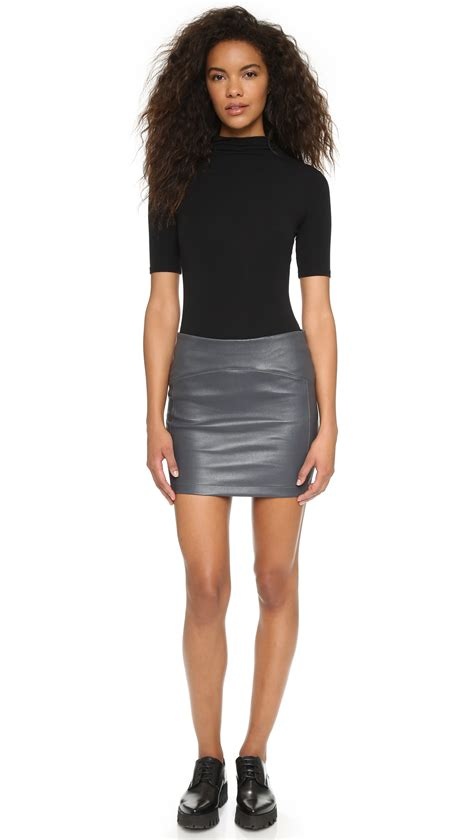 Mini Skirt Square getting back to square one leather miniskirt in gray lyst