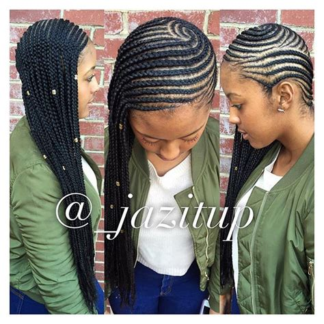 making large braids styles to the side 2 rows of individuals underneath for fullness