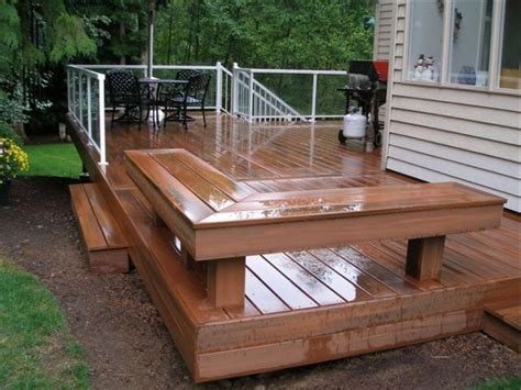 decking bench deck with built in bench outdoors pinterest deck