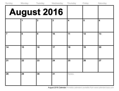 august 2016 calendar excel monthly calendar printable
