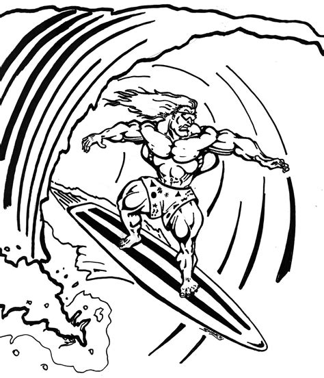 printable coloring page of surf board az coloring pages