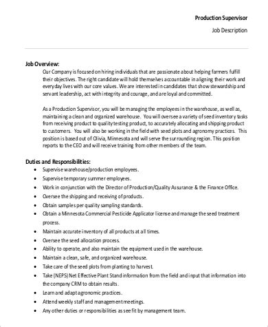 Responsibilities Of A Production Manager by Production Supervisor Description Sle 9 Exles In Word Pdf