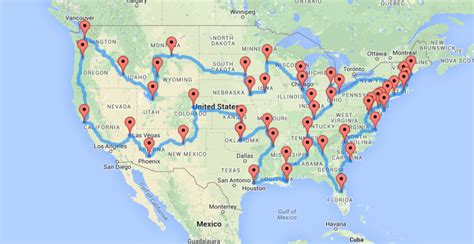 map us road trip a map of the optimal united states road trip that hits