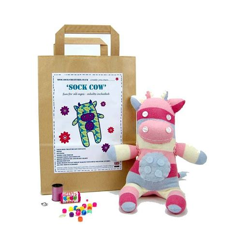 crafting kits for sock cow craft kit by sock creatures notonthehighstreet