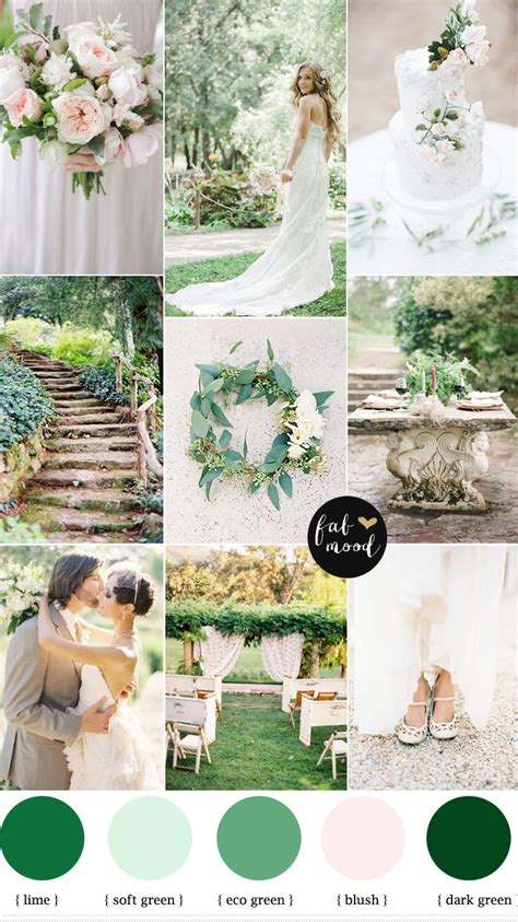 color theme ideas natural garden wedding theme shades of green blush