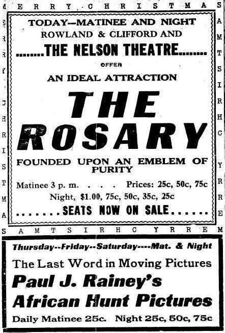 Movie Ads from Across America, Christmas 1912 — Immortal