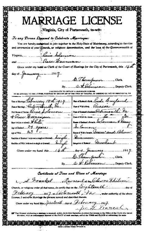 Norfolk Marriage License Records Chevra Thelim Of Portsmouth