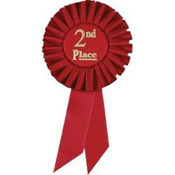 place red satin preprinted ribbon dinn trophy