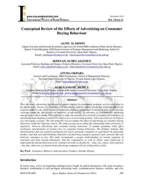 Reviews Of Of Mba by Conceptual Review Of The Effects Of Advertising On