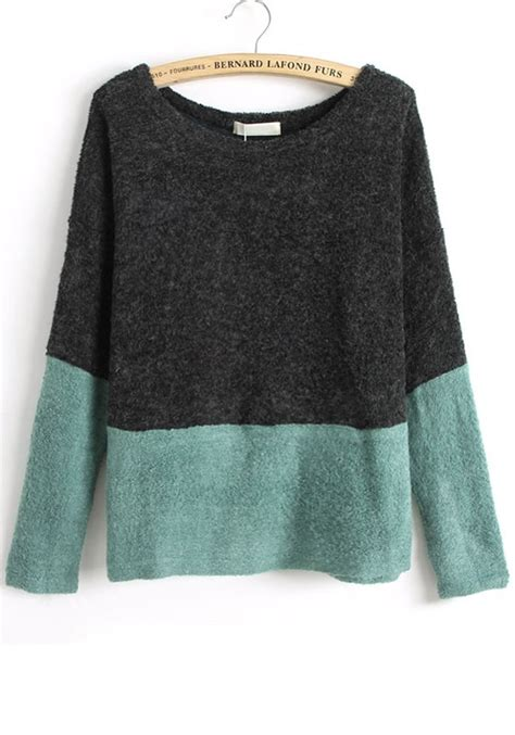 Color Block Sweater black color block patchwork collarless knit sweater