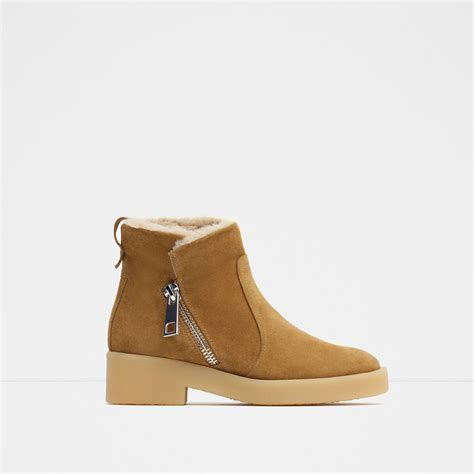 zara flat leather ankle boots in lyst