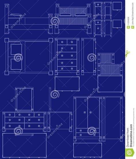 bedroom blueprint blueprint bedroom furniture royalty free stock images