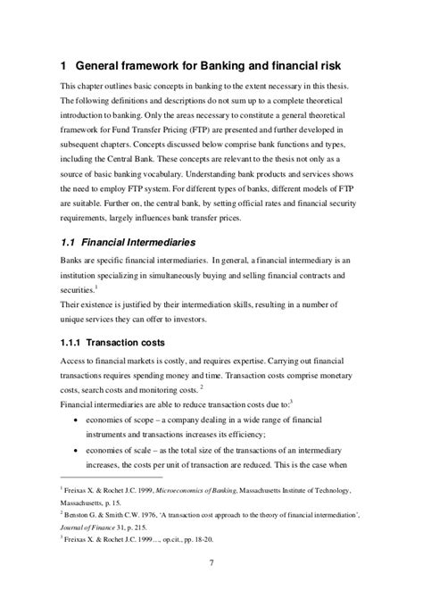 Transfer Pricing Mba Notes by Fund Transfer Pricing In A Commercial Bank Thesis