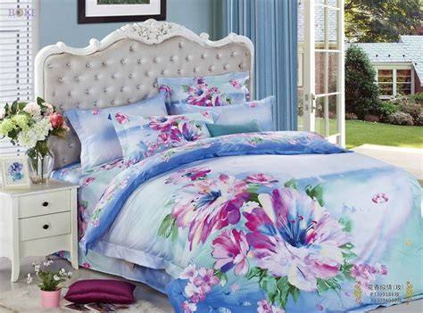 queen size teenage bedroom sets purple floral blue prints queen size 100 cotton teen 3d comforter bedding sets duvet cover bed