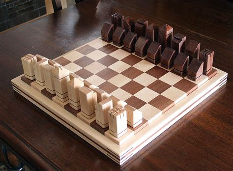 Handmade Wood Projects - unique handmade wooden chess set by dave dufour