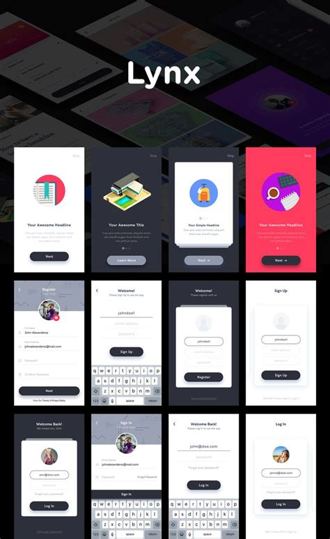 app design help lynx is a mobile app ui kit created using sketch app to