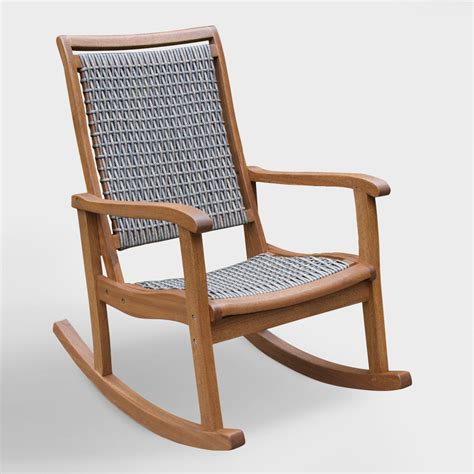 Rocking Chair - gray all weather wicker and wood galena rocking chair