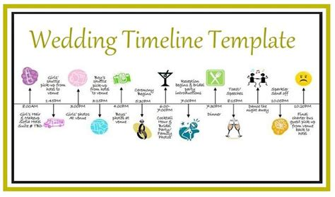 wedding timeline template   printable word excel