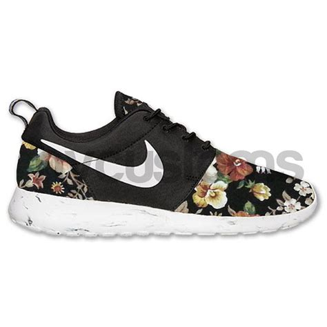 roches shoes nike roshe run black white marble floral custom by