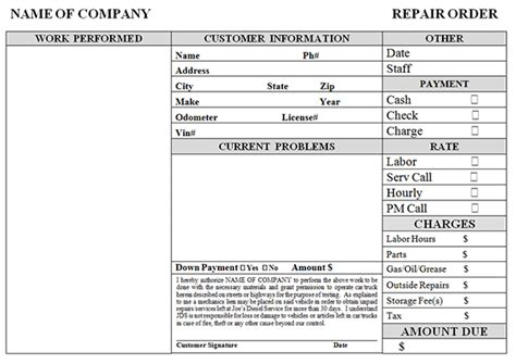 Blank Auto Repair Invoice Template by Simple Auto Repair Work Order