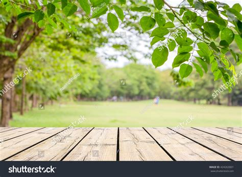 background outdoor empty wooden table garden bokeh catering stock photo