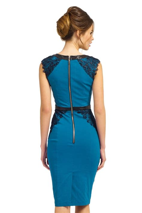 Alfinsa Peacok Detail Lace Dress peacock cap sleeve lace pu detail bodycon dress