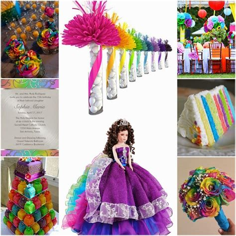 quinceanera themes ideas 2015 rainbow bright colorful sweet fifteen quinceanera theme