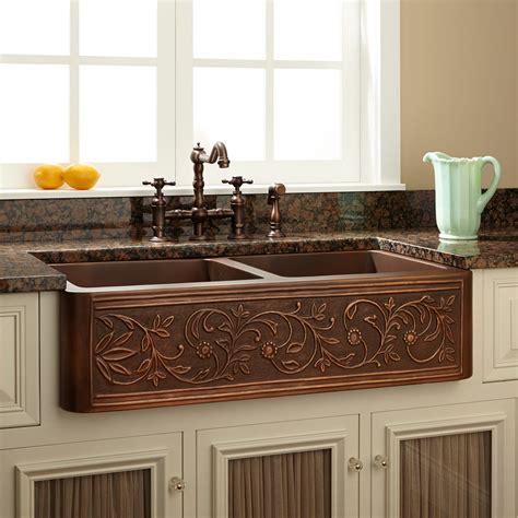 Copper Belfast Sink by 36 Quot Vine Design Bowl Copper Farmhouse Sink Kitchen
